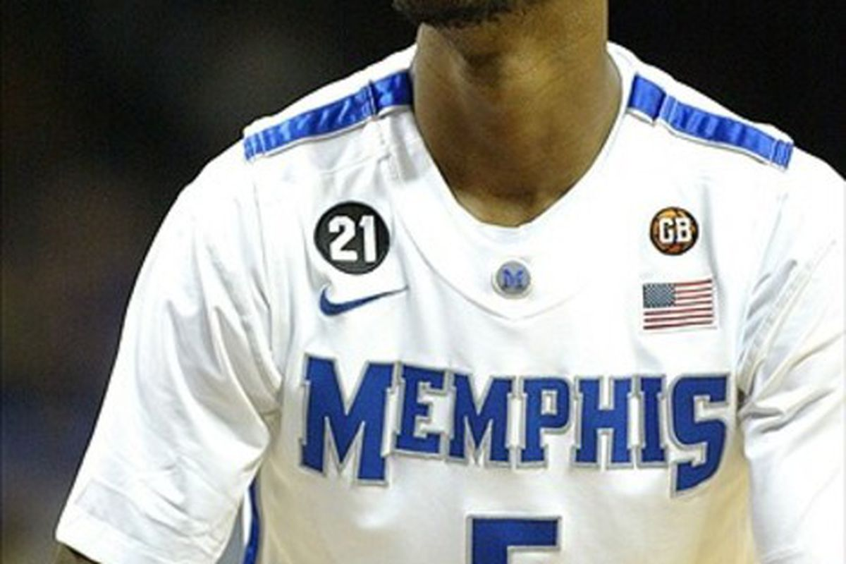 Feb 22, 2012; Memphis, TN, USA; Memphis Tigers guard Will Barton (5) shoots a free throw during the second half against the East Carolina Pirates at FedEx Forum. Memphis won 70-47. Mandatory Credit: Spruce Derden-US PRESSWIRE