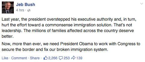 Jeb Bush Facebook immigration