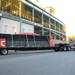 4:28 p.m. The flatbed truck starts to head eastbound on Addison Street -
