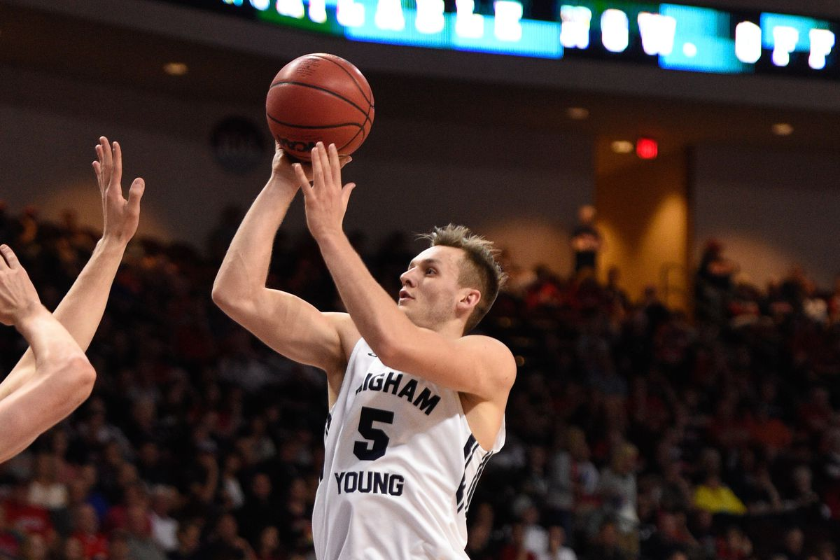 Kyle Collinsworth shoots against the Portland Pilots in the WCC semifinal at Orleans Areana in Las Vegas.