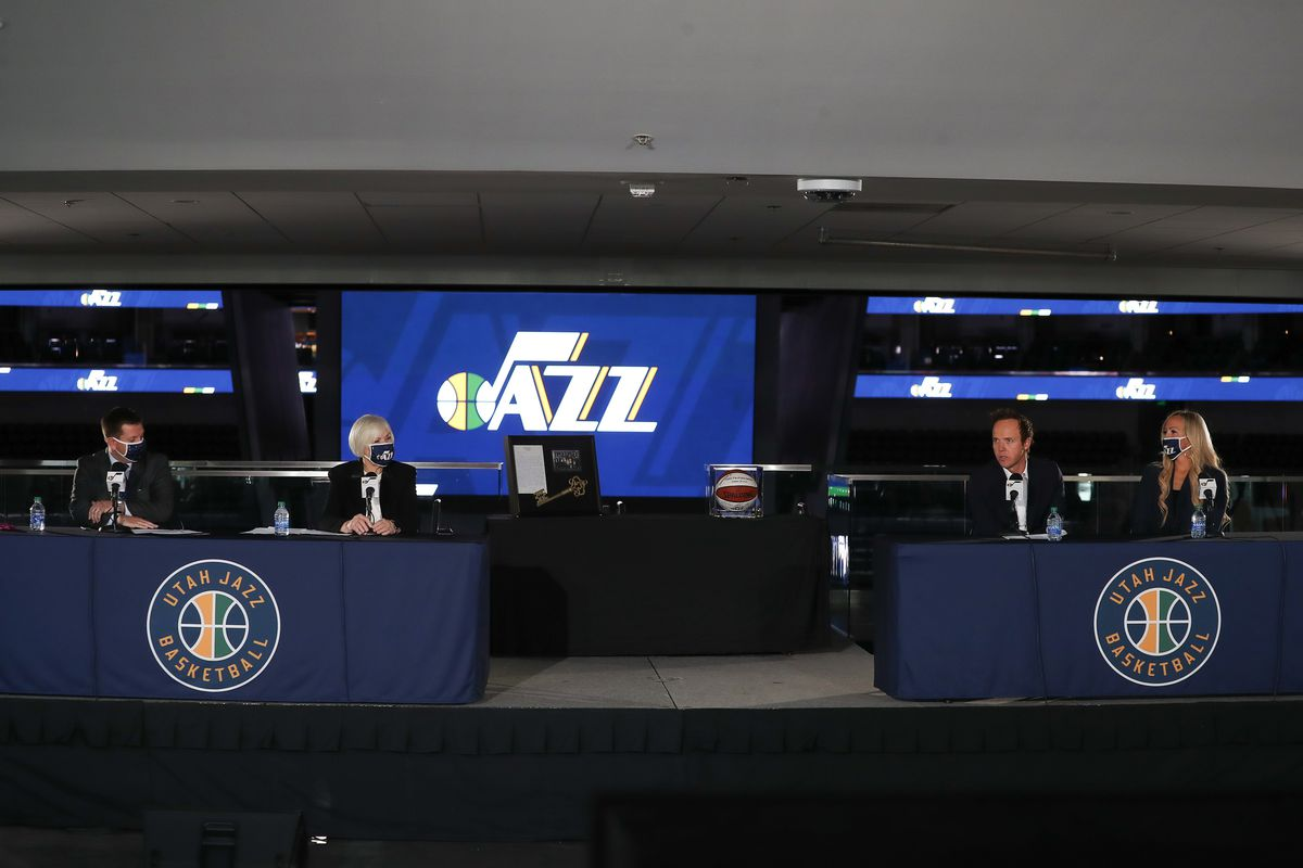 Steve Starks, president of the Utah Jazz, owner Gail Miller, Ryan Smith, CEO of Qualtrics, and his wife, Ashley Smith, appear at a press conference at Vivint SmartHome Arena in Salt Lake City on Wednesday, Oct. 28, 2020. Miller announced Wednesday she is selling the team to Ryan Smith.