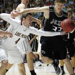 Lone Peak's Nick Emery competes with Alta's Landon Albrecht during the 5A State Championship game in Ogden Saturday, March 2, 2013.