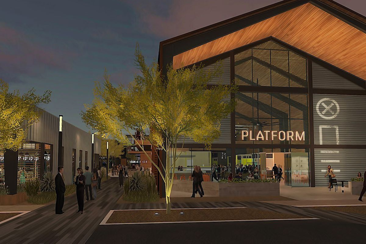 A rendering of the exterior of a food hall.