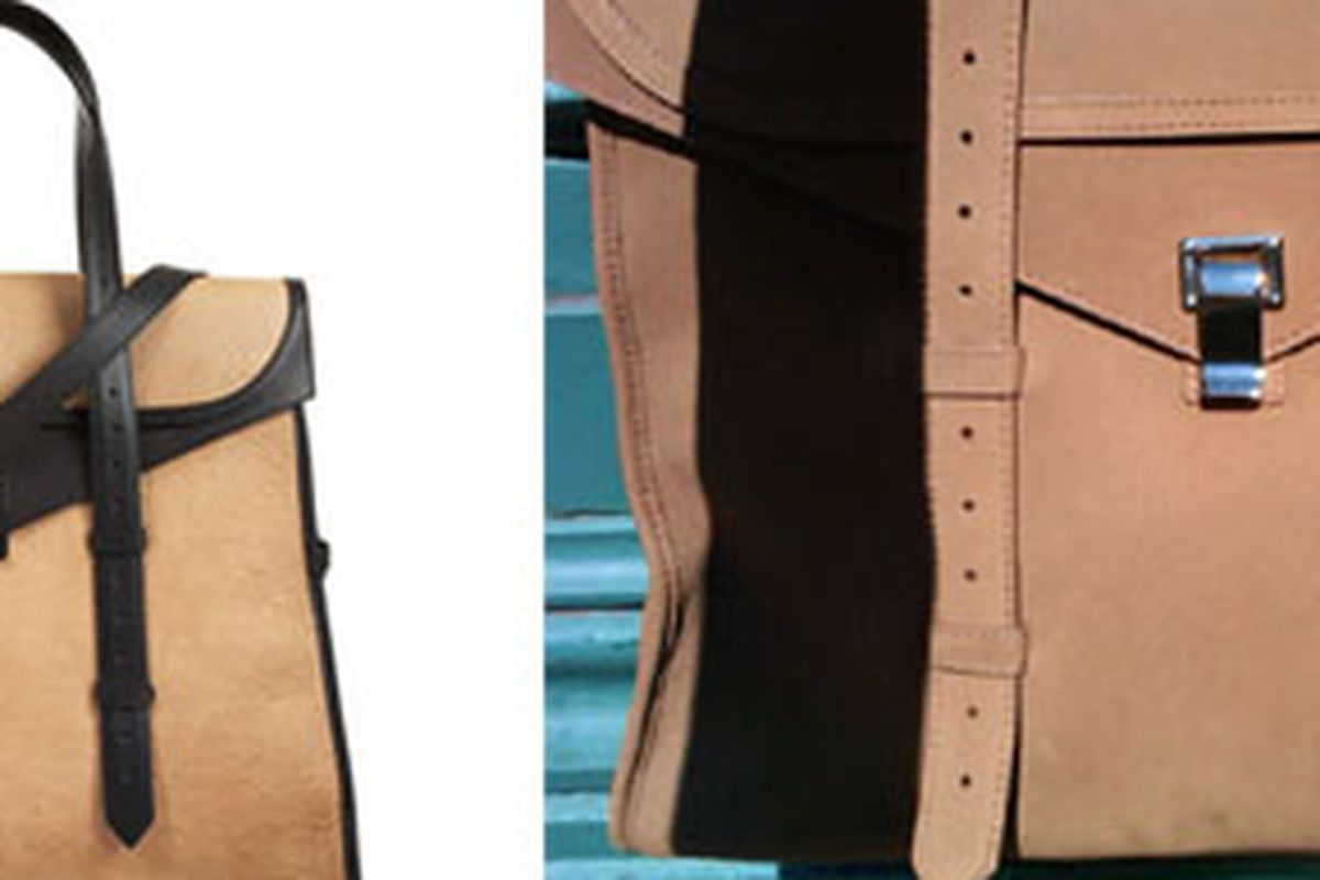 The Cabas tote at left; our tipster's purchase at right