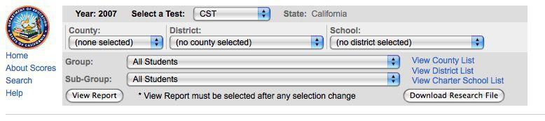 Screenshot of California's STAR system
