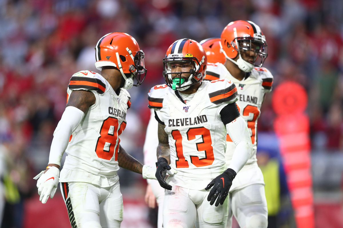 Cleveland Browns wide receiver Odell Beckham Jr.  with Jarvis Landry against the Arizona Cardinals at State Farm Stadium.