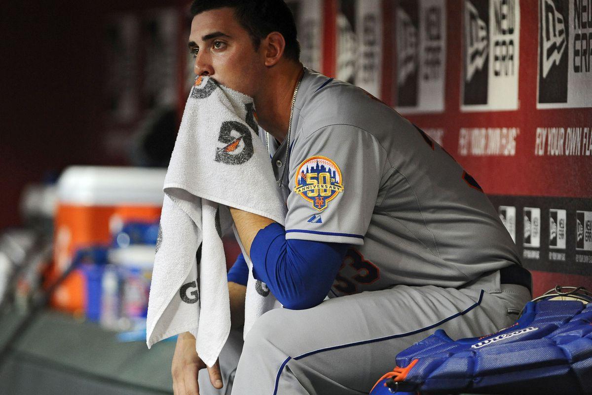 Jul. 26, 2012; Phoenix, AZ, USA; New York Mets pitcher Matt Harvey (33) sits in the dugout during the game against the Arizona Diamondbacks at Chase Field.  Mandatory Credit: Jennifer Stewart-US PRESSWIRE