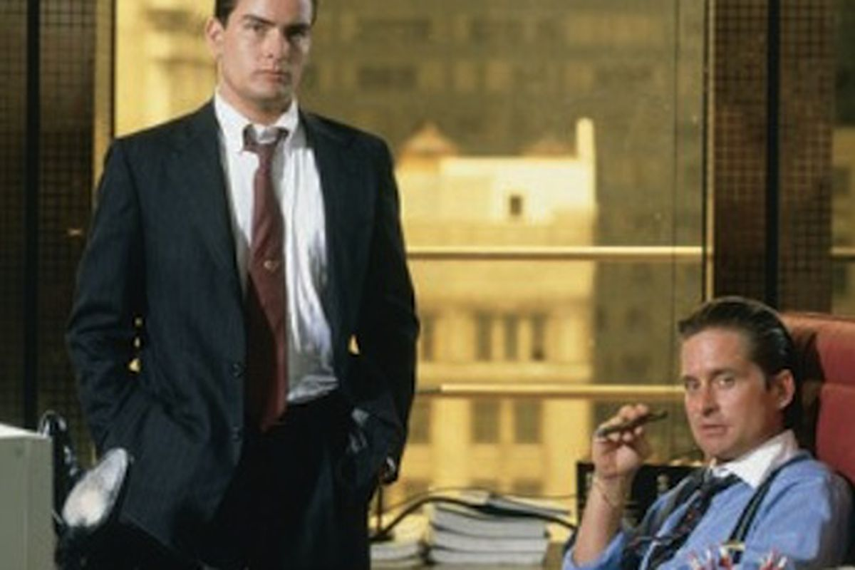 Charlie Sheen and Michael Douglas in Wall Street (1987)