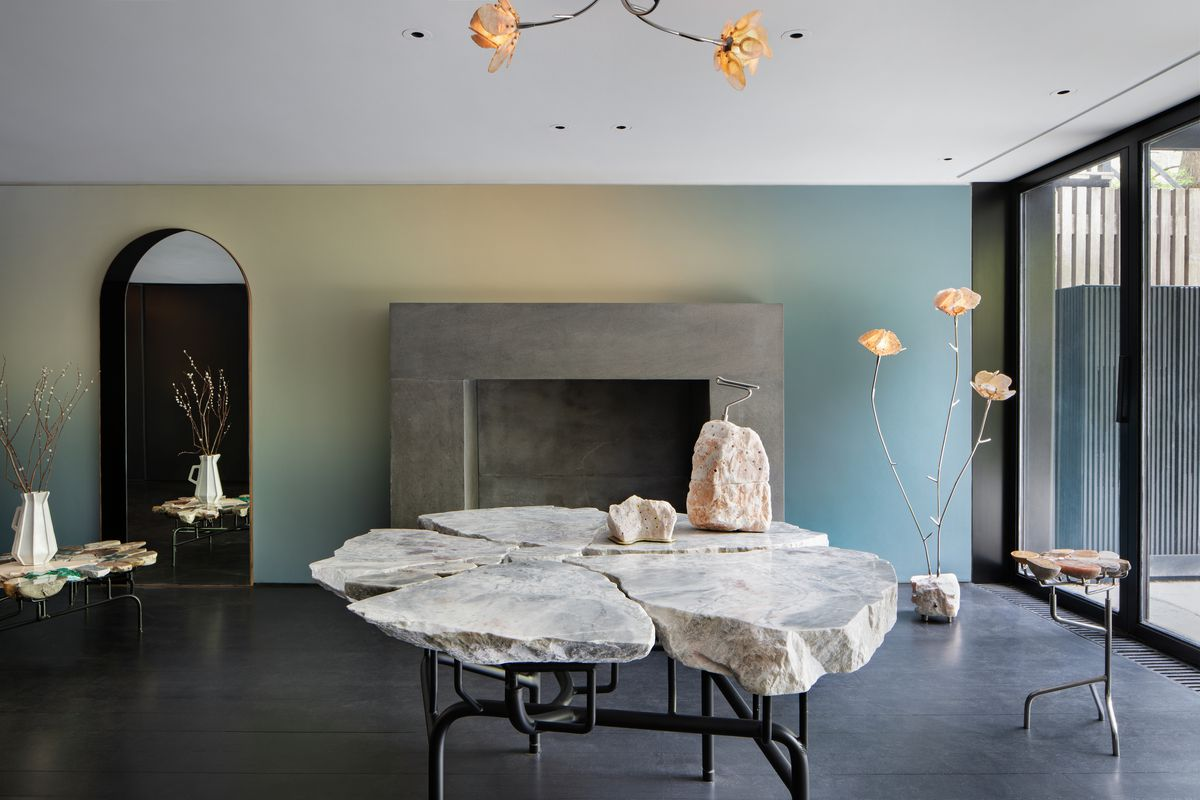 stone table in townhouse