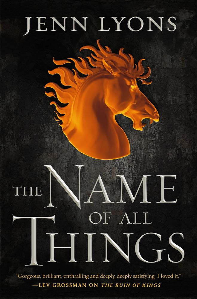 cover for the name of all things; a black background with a bronze horse's head in the middle
