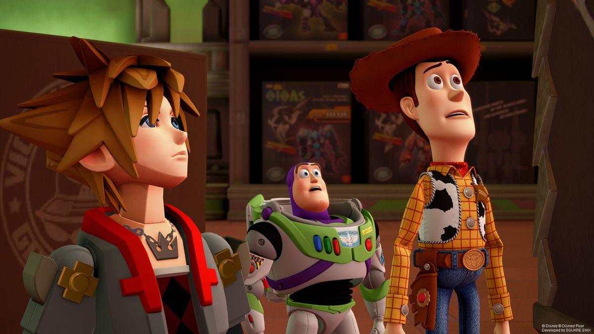 Sora, Buzz Lightyear and Woody look up in a screenshot of Kingdom Hearts 3.