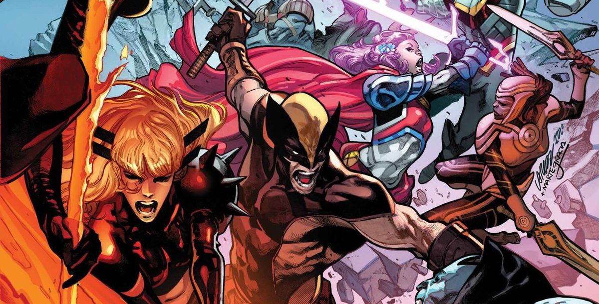 Magik, Wolverine, and Captain Britain wield swords against their enemies on the cover of X of Swords: Destruction #1, Marvel Comics (2020).