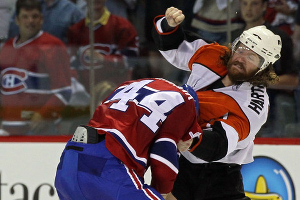 This isn't the first time Hartnell has gone at it with Hamrlik. Might not be the last, either.