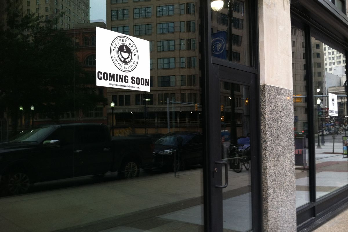 Dessert Oasis Coffee is filling a vacant storefront next to Detroit Bikes.