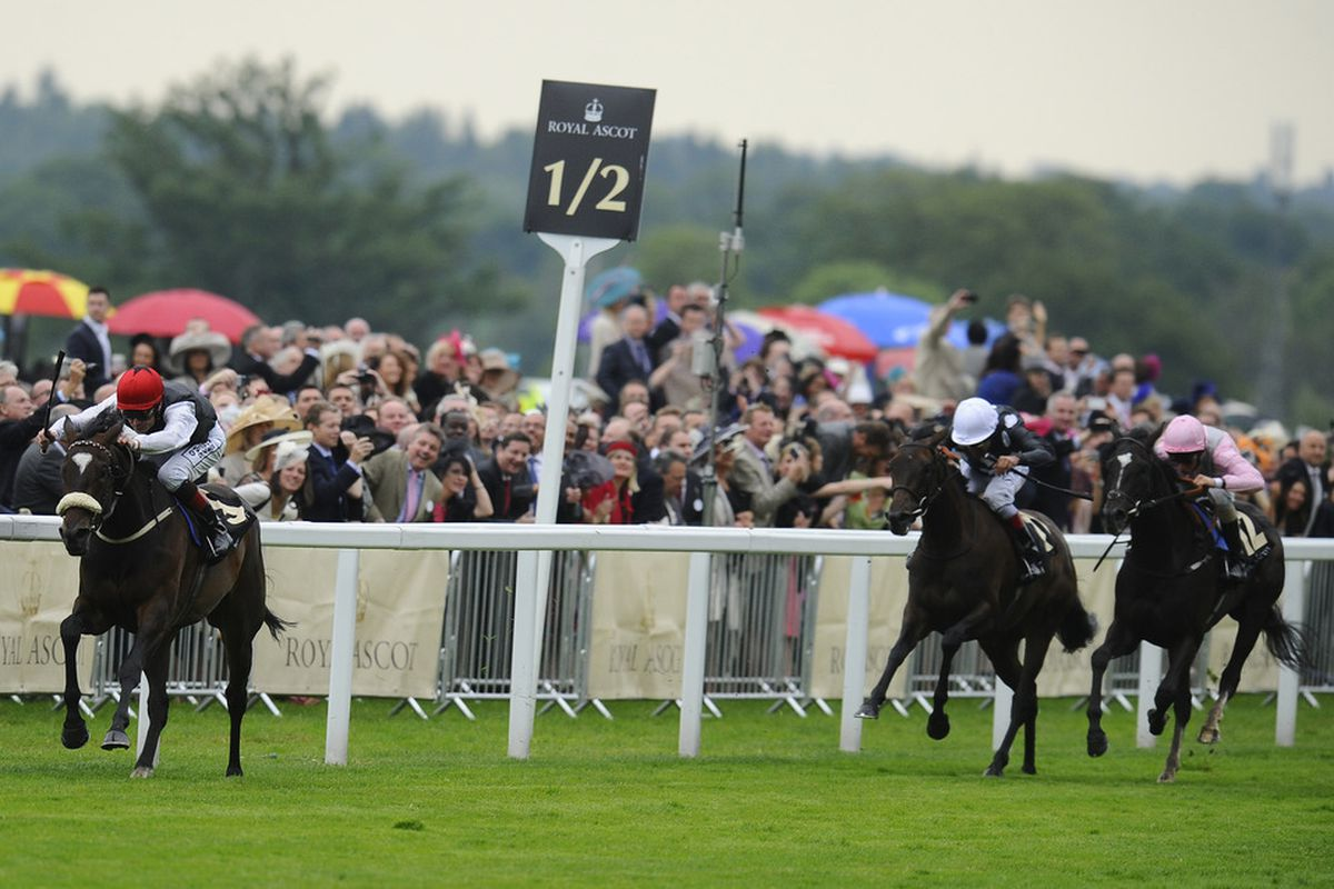 Princess Highway (L), winning the G3-Ribblesdale Stakes, is the only American-bred horse to win during the first three days of the 2012 Royal Ascot meeting.