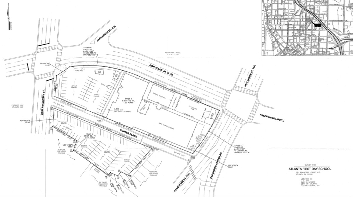 A survey graphic of lots available in downtown Atlanta.