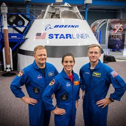 <em>NASA astronauts Eric Boe (L), Nicole Mann (C), and Boeing astronaut Chris Ferguson (R)</em>