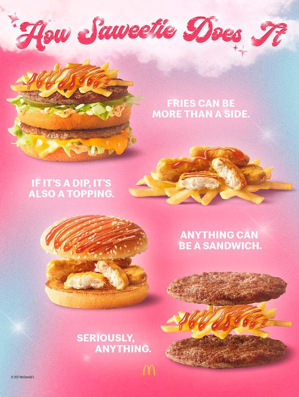 """An image titled """"How Saweetie Does It"""" with examples of McDonald's food like McNuggets and fries and a Big Mac with the pieces mixed and matched"""