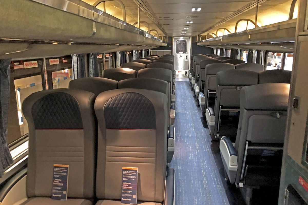 The inside of an upgraded Amtrak Superliner coach displayed on Tuesday, June 15, 2021 at Chicago's Union Station.