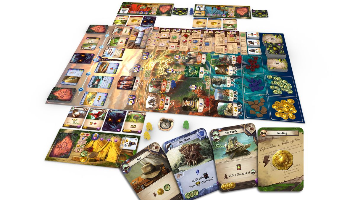 Ruins of Arnak, laid out for play, it looks like a cross between Indiana Jones and Robinson Crusoe.
