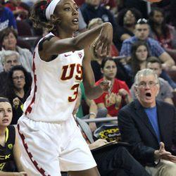 Desiree Bradley fires a pass inside.