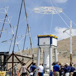 Members of the media visit the site of the launch abort motor prior to its qualification ground test at the Orbital ATK facility in Promontory on Thursday, June 15, 2017. Orion will carry crew and launch on NASA's heavy-lift Space Launch System, enabling new missions of exploration across the solar system.