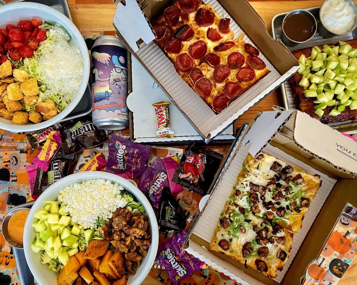 Halloween pizza party from Square Pie Guys