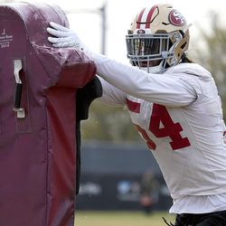 San Francisco 49ers middle linebacker Fred Warner (54) goes through drills during NFL football practice at the team's training facility in Santa Clara, Calif., Wednesday, Jan. 15, 2020. The 49ers will host the Green Bay Packers for the NFC Championship on Sunday.