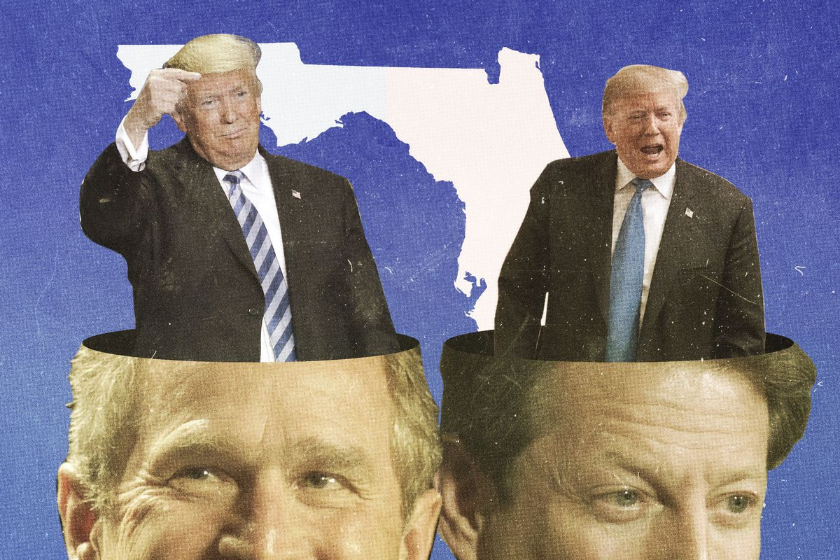 President Donald Trump emerging from the heads of George Bush and Al Gore