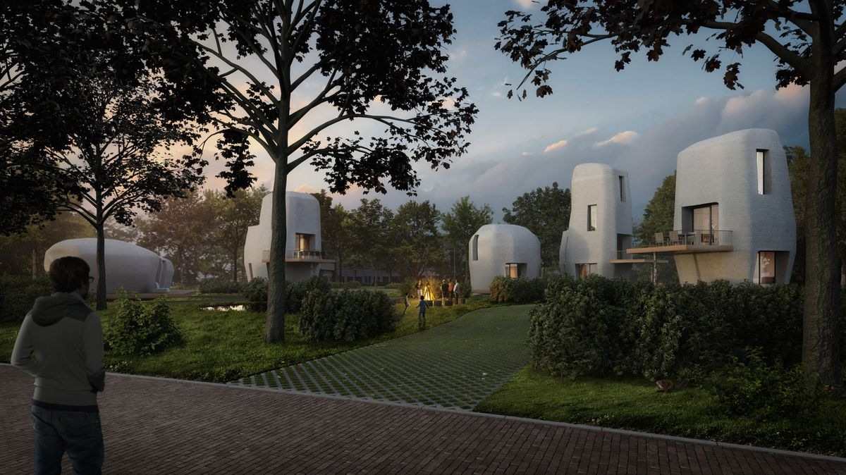 Rendering of concrete homes at dusk