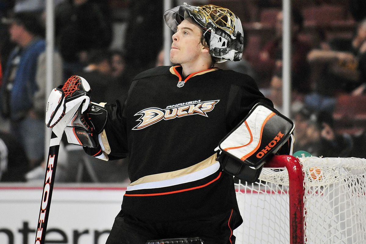 March 28, 2012; Anaheim, CA, USA; Anaheim Ducks goalie Jonas Hiller (1) during a stoppage in play against the San Jose Sharks during the third period at Honda Center. Mandatory Credit: Gary A. Vasquez-US PRESSWIRE