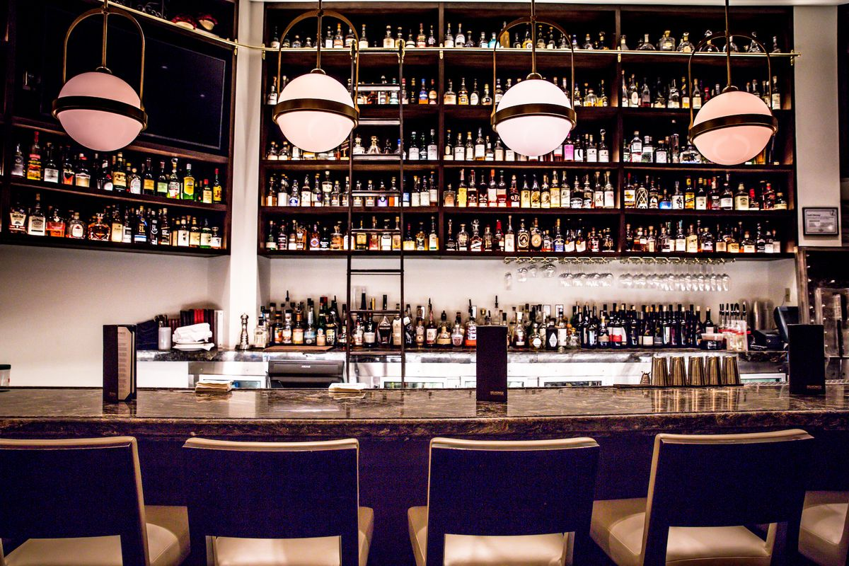 The renovated bar at Delmonico Steakhouse
