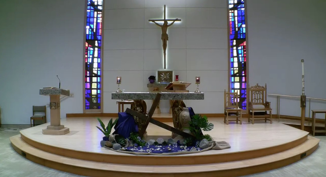 The altar at St. Peter Damian Church in Bartlett. According to an ongoing lawsuit, James Ray was assigned there as a priest and is accused in the civil court case of repeatedly molesting a boy in the 1980s.