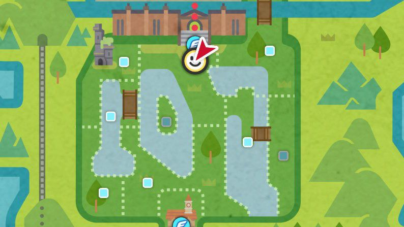 A map showing the whereabouts of two important NPCs in Pokémon Sword and Shield