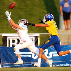 Skyridge and Orem play in a high school football game in Lehi on Friday, Aug. 28, 2020.