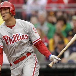 Philadelphia Phillies' Hunter Pence drives watches his first-inning RBI double off Pittsburgh Pirates pitcher James McDonald during a baseball game in Pittsburgh on Sunday, April 8, 2012.