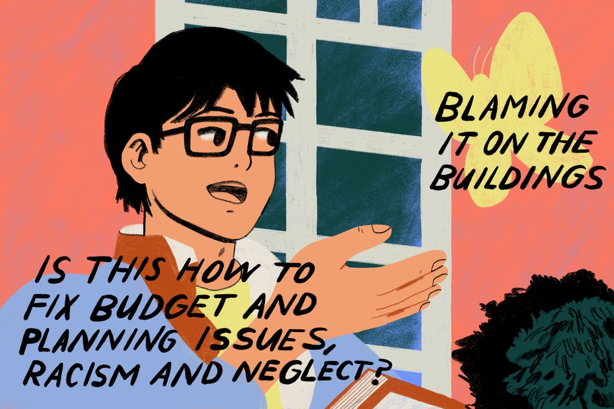 "A popular meme format. Ash from the game and animated series Pokemon, is gazing at a large butterfly with a look of wonder. The caption over Ash reads, ""Is this how to fix budget and planning issues, racism and neglect?"", the butterfly has the words ""Blaming it on the buildings"" labeled over it. Illustration."