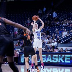 BYU's Malli Valgardson Perri shoots a 3-pointer during the Cougars' 65-54 win over Pacific at the Marriott Center in Provo on Saturday, Feb. 15, 2020.