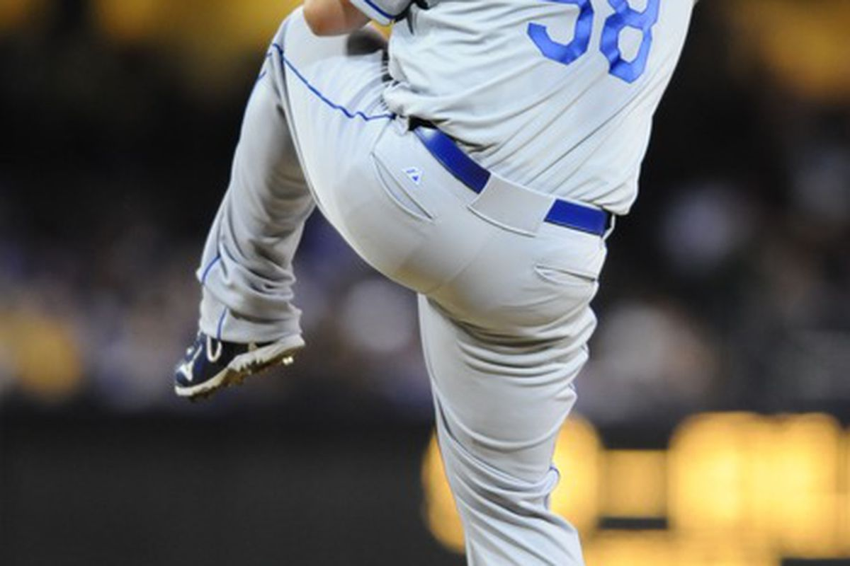 April 6, 2012; San Diego, CA, USA;  Los Angeles Dodgers starting pitcher Chad Billingsley (58) against the San Diego Padres at Petco Park.  Mandatory Credit: Christopher Hanewinckel-US PRESSWIRE