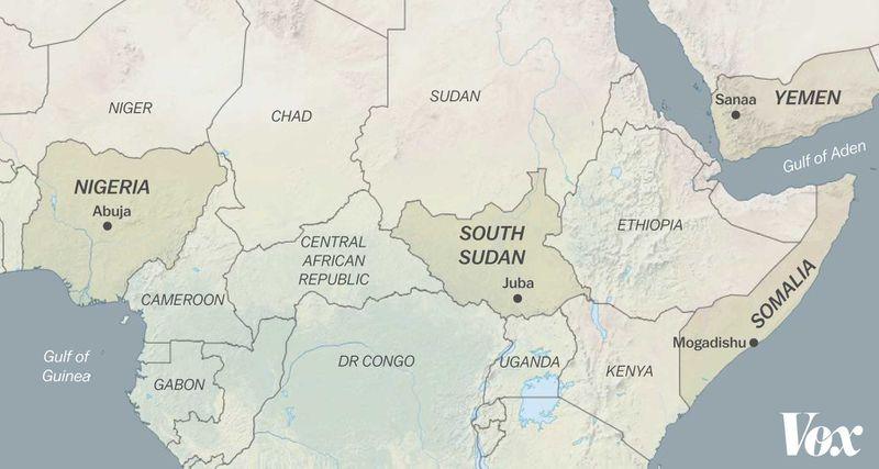 Map including Nigeria, South Sudan, Somalia, and Yemen.