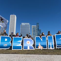 """Bernie Sanders supporters wait in Grant Park with giant letters that spell """"Bernie"""" ahead of his rally, Saturday, March 7, 2020 in Chicago."""
