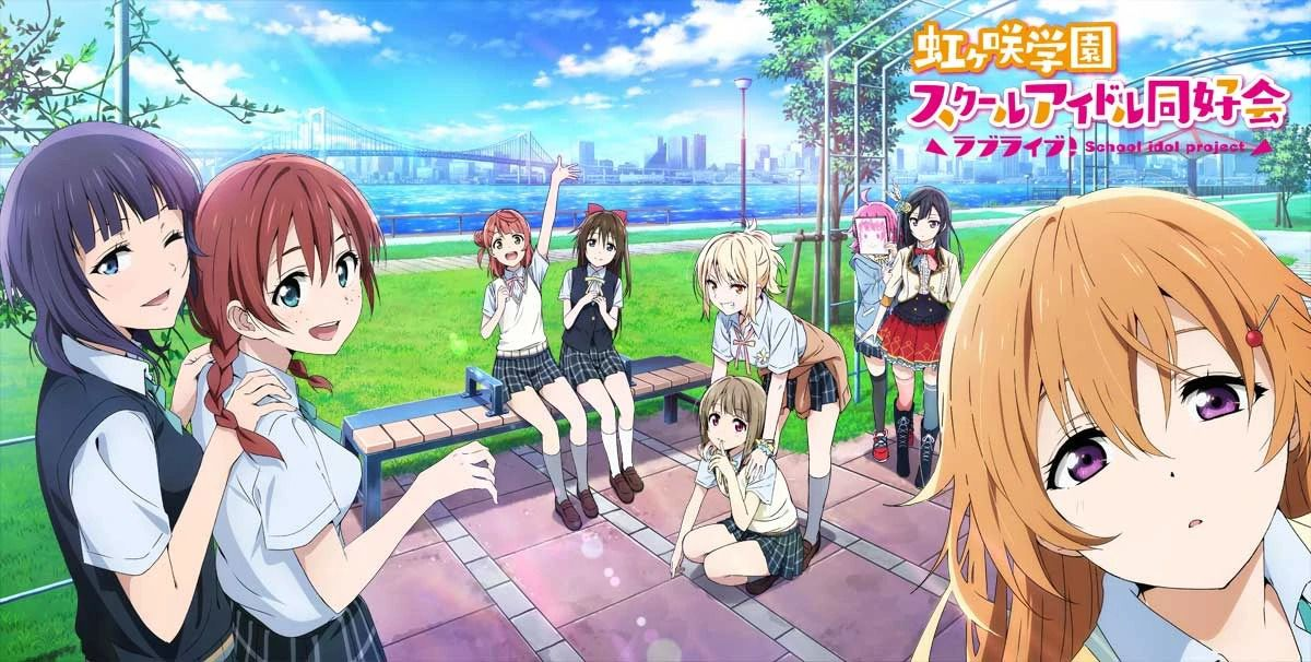 Anime high school girls enjoy hanging out on a terrace near a river