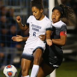 BYU Nadia Gomes (6) tries to kick the ball around UNLV Chidera Akubuilo (19) as BYU and UNLV play in the first round of the NCAA tournament in Provo on Friday, Nov. 11, 2016.