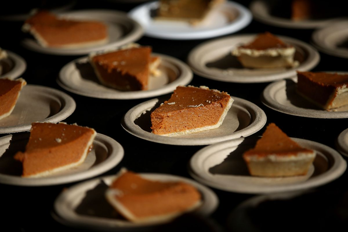 Slices of pumpkin pie, like the ones coming to a holiday table near you.