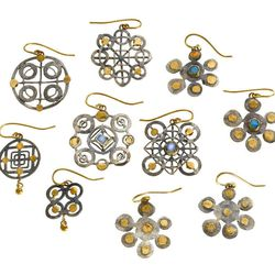 Judy Geib silver and gold earrings with moonstones, opals and emeralds, specially made for the sale ($75-100)