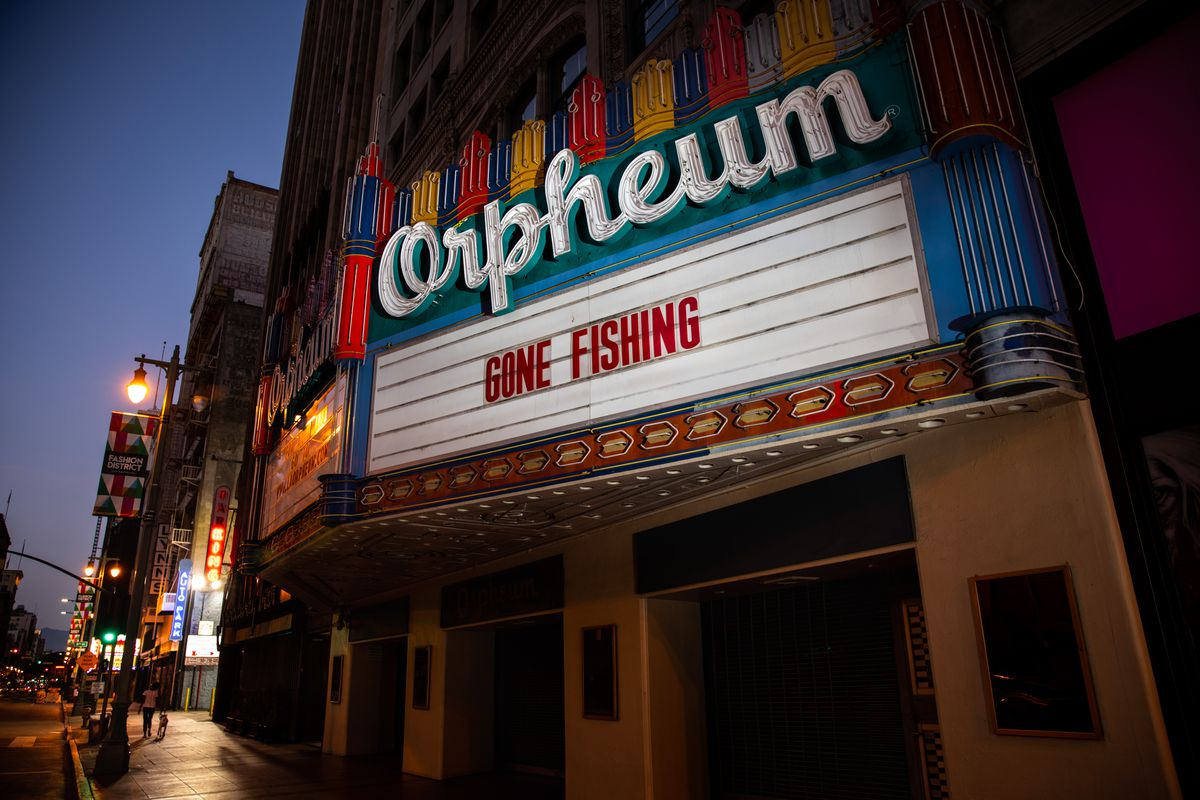 The historic OrpheumTheatre in downtown Los Angeles, with Gone Fishing on the marquee, during the coronavirus pandemic