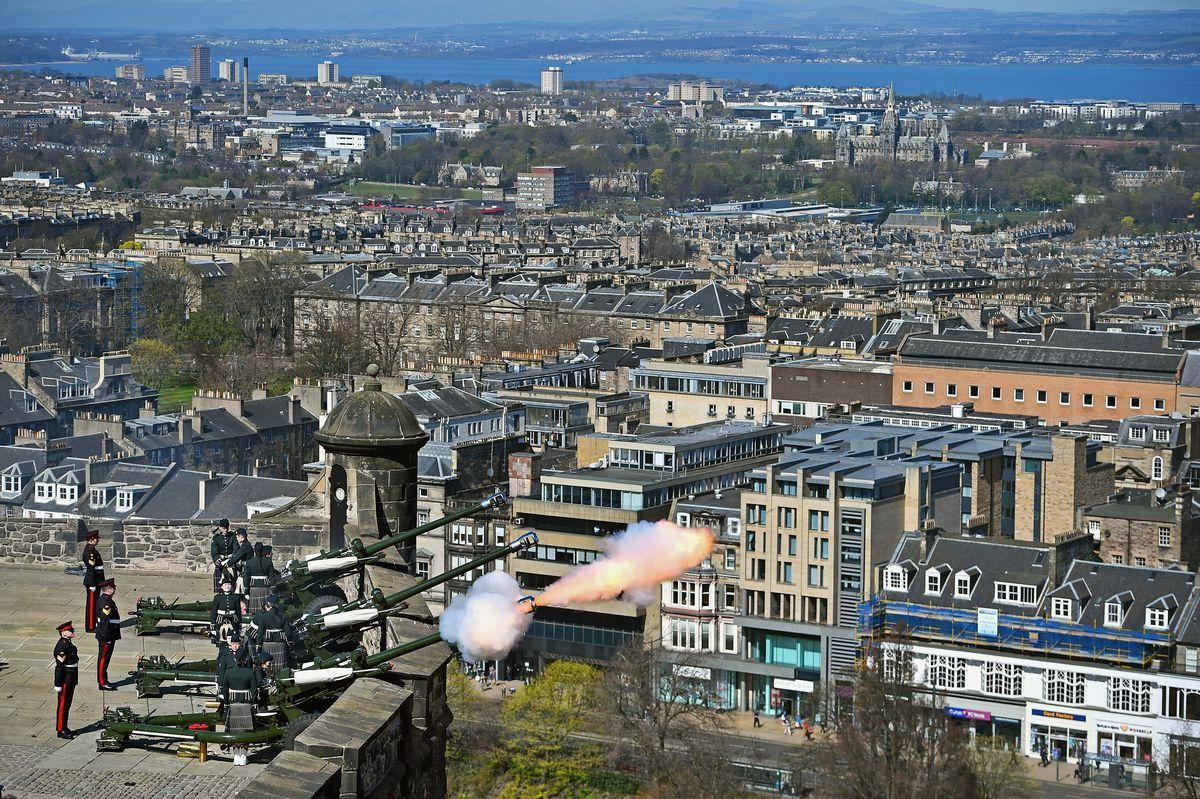 A 21 Gun Salute Takes Place At Edinburgh Castle For Queen's 90th Birthday