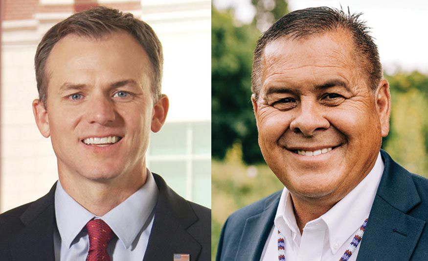 Republican Blake Moore, left, and Democrat Darren Parry, right, candidates for the 1st Congressional District, are pictured in handout photos from the Utah Debate Commission on Sept. 25, 2020.