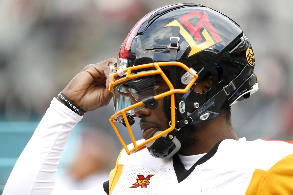 Josh Johnson of the Los Angeles Wildcats adjusts his helmet in between plays during the second half of their XFL game against the New York Guardians at MetLife Stadium on February 29, 2020 in East Rutherford, New Jersey. The Guardians won 17-14.