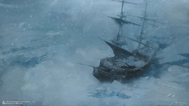 A ship trapped in the ice flows. A blizzard rages.